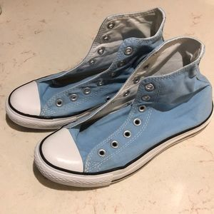 Converse light blue lace high tops